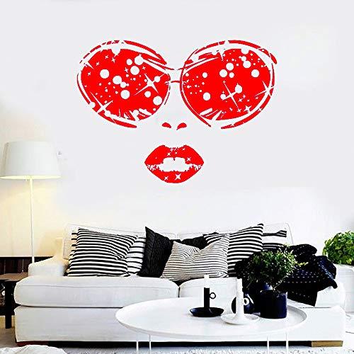 guijiumai Schönheitssalon Vinyl Wandaufkleber Frau Gesicht Brille Lippen Mädchen Abnehmbare Aufkleber Wohnzimmer Schlafzimmer Dekoration Z 2 42X58 cm