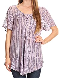 Sakkas Zoya Marbled Embroidery Cap Sleeves Blouse/Top