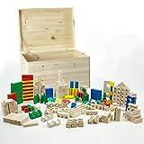 HolzFee Holz Bausteine 210 Holzklötze Buche mit Holzkiste
