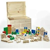 Holzspielzeug Wackelturm HolzFee PREMIUM XL Bauklötze 18 x 6 x 3 cm Holz Rotbuche mit Tasche Motorikspielzeug