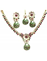 Jewelshingar Jewellery Zircon Stone Gold Plated Colour Multi-Colour Necklace Set For Women ( 40432-nz-rani-green )