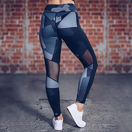 Amlaiworld Leggings donne Camouflage skinny sport esercizio yoga pantaloni lunghi nero