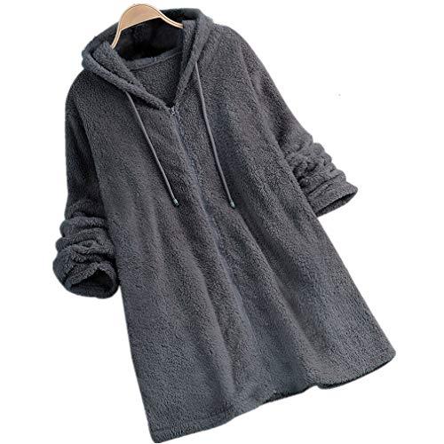 MEIbax Damen Fleece Mantel Zipper Hooded Einfarbig Sweatshirts Herbst Langarm Plüschjacke Kunstfell...
