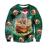 RAISEVERN Unisex de Navidad de Santa Claus Superman Héroe de impresión suéter Lindo de Navidad de la Camiseta del suéter de Las Mujeres de los Hombres