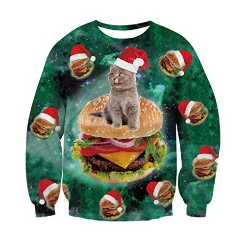 RAISEVERN Unisex Weihnachten Weihnachtsmann Superman Held Print personalisierte Xmas Pullover Pullover Sweatshirt für Junge Mädchen