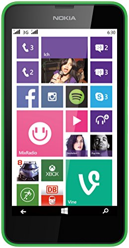 Nokia Lumia 630 Dual-SIM Smartphone, Display 4,5 Pollici, Fotocamera 5 MP, HD-Ready Video, 1,2GHz Quad-Core, Windows Phone 8.1, Verde [Germania]