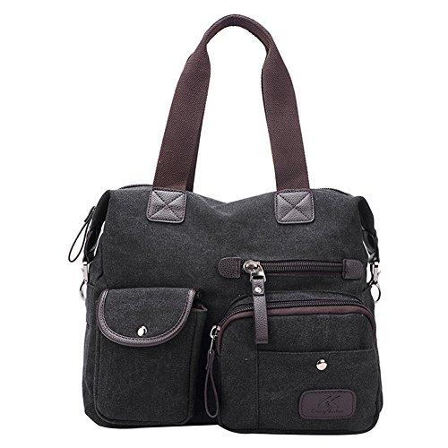 PB-SOAR Damen Herren Klassische Canvas Schultertasche Umhängetasche Handtasche Henkeltasche Shopper, 7 Farben auswählbar (Schwarz)