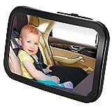 Specchietto Retrovisore Auto per Bambini Rimovibile | Visione Grandangolare Neonati e Bimbi | Accessorio di Sicurezza con Doppia Cinghia per Poggiatesta | Regolabile a 360 Gradi + Vetro Infrangibile