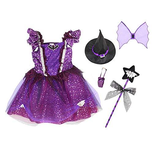 Kostüm Assistent Childs - Nicetruc Mädchen-Hexe-Kostüm-Klassiker Halloween Fancy Dress Up Outfit mit Hut für Mädchen Halloween-Kostüme Märchen Korsett-Kleid-Partei-Kostüm Lila 130cm 1Set