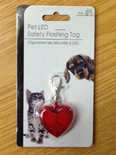 Rotes Herz Haustier Hund LED Sicherheit Blinkender Anhänger Halsband Hoch-Sichtbar