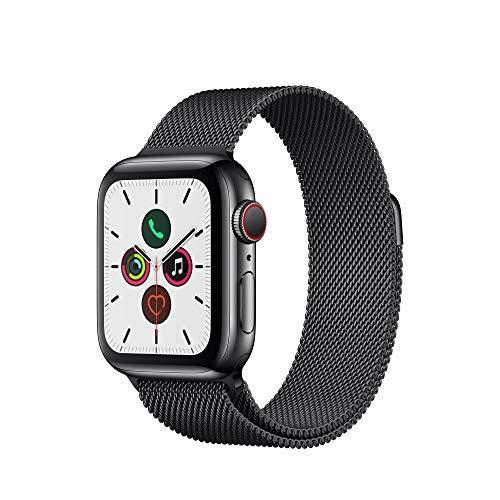 Apple Watch Series 5 (GPS+Cellular, 40 mm) Boîtier en Acier Inoxydable Noir Sidéral - Bracelet Milanais Noir Sidéral