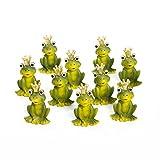 10 Stück: kleine 6 cm große grüne Frösche Froschkönige mit goldener Krone- süße Frosch-Figur aus Poly zur Tisch-Deko, als Mitgebsel Gastgeschenke give-away für Kunden, Gäste, Singles … Zur Hochzeit, Kinder-Geburtstag als Streudeko