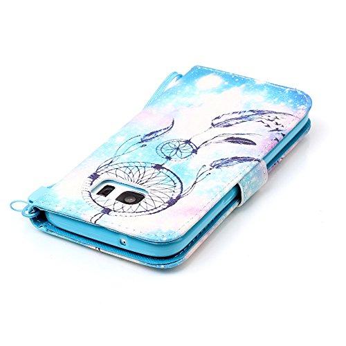 Sunroyal Etui Lederhülle für Samsung Galaxy S7 Diamant Bling 3D Rhinestone Book Type Schutzhülle Magnetverschluss PU Leder Hülle Flip Tasche Wallet Case Cover HandyHülle Bookstyle Brieftasche mit Stan Pattern 7