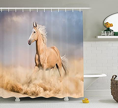 Animal Decor Shower Curtain Set By , Palomino Horse In Sand Desert With Long Blond Male Hair And Tail Power Wild Animal Theme, Bathroom Accessories, 69W X 70L Inches, Cream