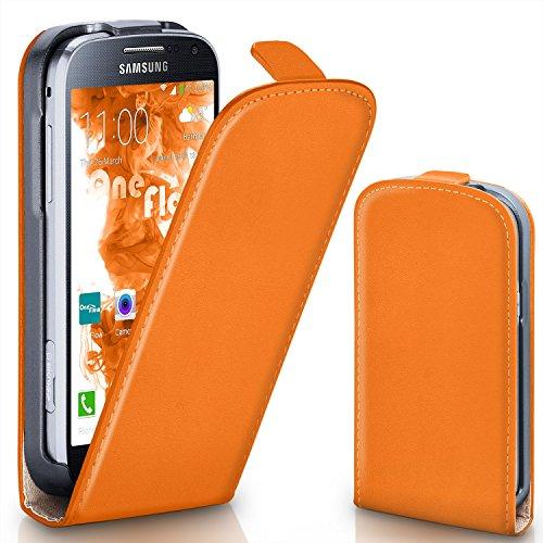 Samsung Galaxy S4 Mini Hülle Orange [OneFlow 360° Klapp-Hülle] Etui thin Handytasche Dünn Handyhülle für Samsung Galaxy S4 Mini Case Flip Cover Schutzhülle Kunst-Leder Tasche