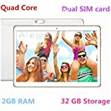 10 Inch 3G Phablet Quad Core 32GB ROM 2GB RAM Phone Android 6.0 Lollipop Tablet PC, Unlocked Dual Sim Card Slots, Bluetooth, GPS, WIFI, Resolution 1280X800 display IPS Screen TYD-107 -White