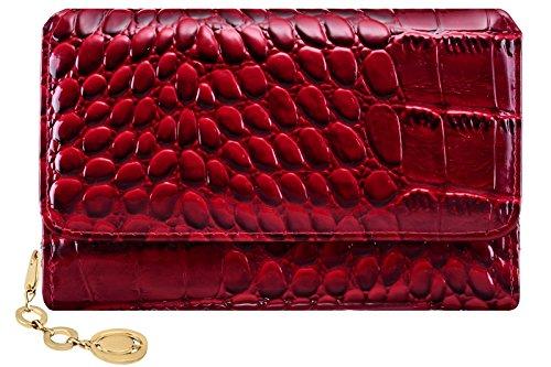 Damen Geldbörse mit Gold-Reißverschluss und ein wunderschöner Krokodil-Effekt PU-Leder Brieftasche für Frauen und Mädchen - wein -