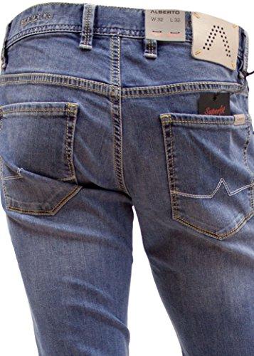 Alberto Herren Jeans Pipe Regular Slim Fit Superfit Denim blau (medium blue 855)