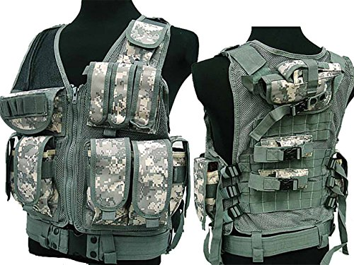 Military Tactical 045 MOLLE-Aufnahmepunkten Combat Weste W/Pistole Holster Paintball ACU