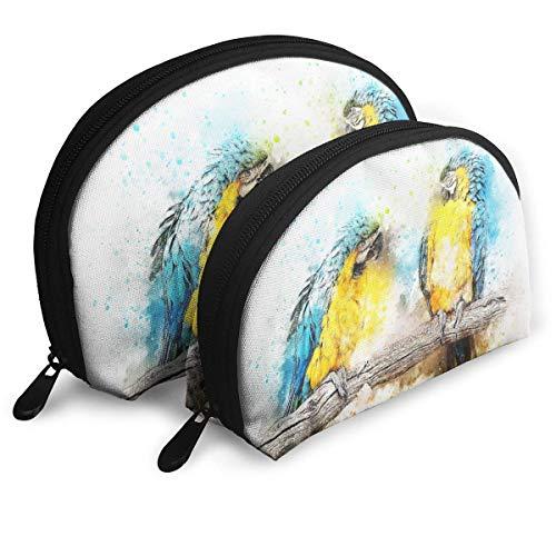 Bird Parrot Color Animal Art Abstract Vintage Shell Portable Bags Clutch Pouch Cosmetic Makeup Bag Pouch 2Pcs (Vintage Gefütterte Clutch)