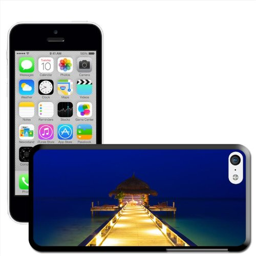 Fancy A Snuggle 'Sonne Set in Sea mit Wasser Bungalows' Hard Case Clip On Back Cover für Apple iPhone 5C Water Cafe On Deep Blue Water