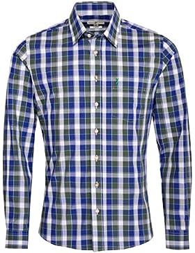 Almsach Trachtenhemd Malte Slim Fit Mehrfarbig in Blau, Dunkelgrün und Weiß Inklusive Volksfestfinder