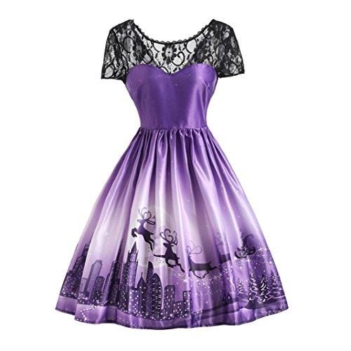 OverDose Frauen Weihnachten Kleid Rückenfrei Spitze Patchwork A-Linie Swing Kleid Party Panel Kleid(L,A-Violett) (Panel Kleid Tank)