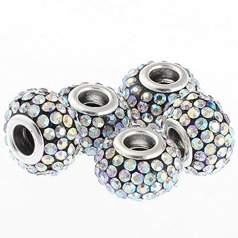 rubyca 15mm Big Loch Kristall Charme Perlen für europäische Charm-Armband, AB Crystal on Black, 20 (Black Christmas Music Mix)