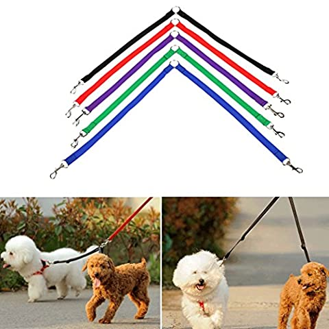 Double Dog Leash Coupler Two Way Nylon Strong Double Pet Lead Leash for 2 Dogs Cats Walking Running Training