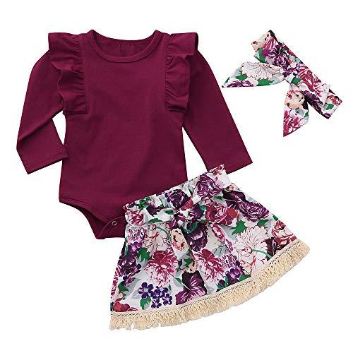 Janly Säuglingsbaby-Mädchen-Fester Spielanzug-Overall + Blumenrock + Stirnbänder Outfits Set Langärmeliges, Einfarbiges Babykleid + Blumenrock + Haarband-Set (90, Wein)