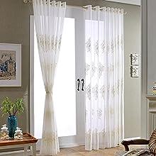 1 Pieza de ventana escarpada gasa cortina de ojal paneles (blanco) Salón / dormitorio / balcón - 78.7inch * 106inch