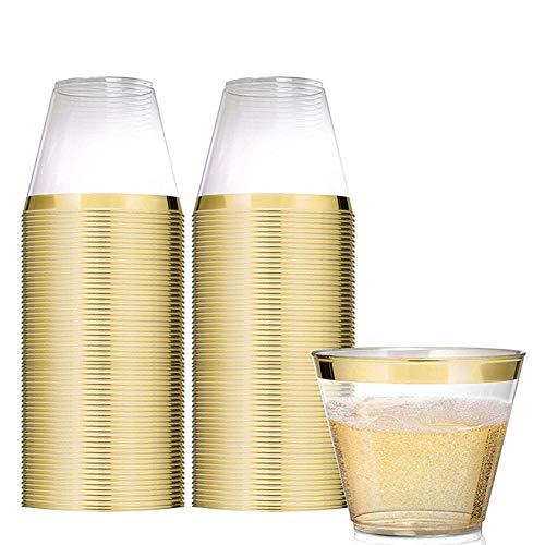 rchsichtig Mit Goldrand Kunststoff Becher Plastik-Becher Trinkbecher für Party Hochzeit, Camping, Strand Und Picknick (Gold) ()