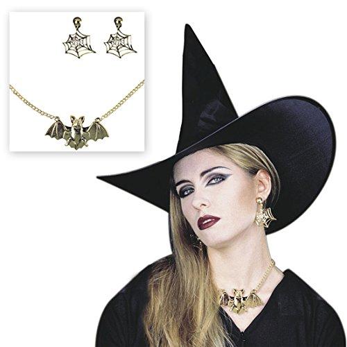 ette mit Spinnenwebenohrringe Hexenschmuck Set gold Fledermaus Kette mit Ohrringen Halloween Schmuck Set Gothicschmuck Kostüm Accessoire Hexe zauberin Vampirin ()