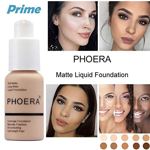 PHOERA 30ml Concealer Cover, Flüssigmatt Full Coverage Concealer Cover Shadows Skin Care Foundation Oil Control Erhellen Sie den langlebigen Shade (Nude #102) -
