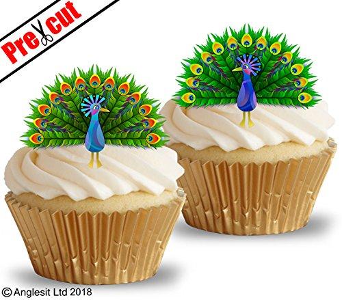 Kuchendekoration, schöner Pfau, vorgeschnittenes, essbares Reis-, Oblatenpapier. Dekoration für Cupcakes, Kuchen, Desserts. Für Geburtstagspartys, Hochzeiten, Babypartys.