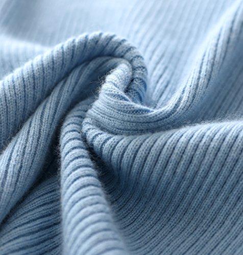 LongMing Damen 100% Kaschmir Pullover for Winter Warm Lange Ärmel Hoher Hals und Figur Schmeichelnde Sim Swaeter Himmel Blau