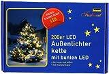 Idena LED Lichterkette 200er, Außen, bunt, 8325046