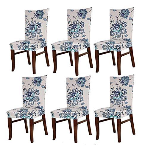 Hmwish 6 pezzi coprisedia con schienale, moderne universale coprisedie elasticizzato cucina salotto coprisedie sala da pranzo fiore blu