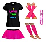 LADIES NEON 80S TSHIRT FANCY DRESS WITH TUTU SKIRT LEG WARMERS & FISHNET GLOVES + BEADS - SUMMER FESTIVAL (12, Pink)