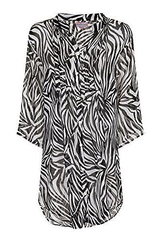 Womens Chiffon Shirt Ladies Beach Summer Cover Up Zebra Print
