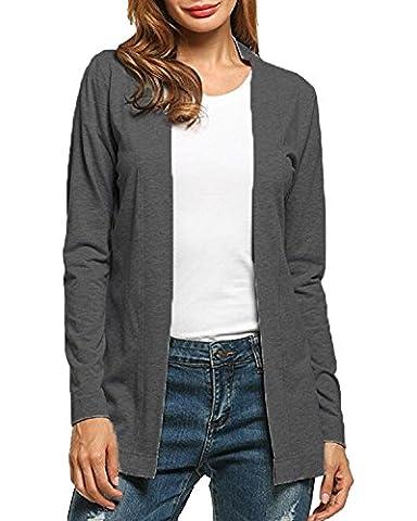 Auxo Femmes Casual Blazer à Manches Longues Veste Automne Cardigan Casual Ouvert Coat Jacket Gilet Gris foncé EU 44