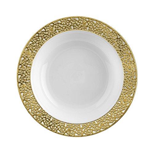 DECORLINE -Stabile Luxe Kunststoff Einwegteller -einweggeschirr - Weiß mit Gold Spitzenrand -Inspiration Collection Gold (Kunstofschüssln 150 - Kunststoff-platten Hochzeit