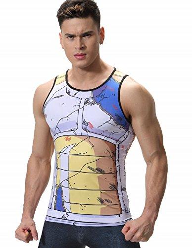 Cody Lundin Herren Mode bunt Cratoon gedruckt Casual Muskel Shirt Gentleman Blickfang - Shirt männlichen Sport Outdoor Sport Jersey (XL, Stil B)