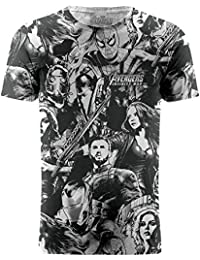 Marvel Avengers Infinity War Cast Characters Wallpaper Graphic T-Shirt