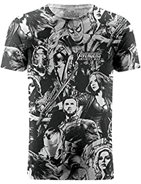 Marvel Camiseta con los Personajes de la Película Avengers Infinity War