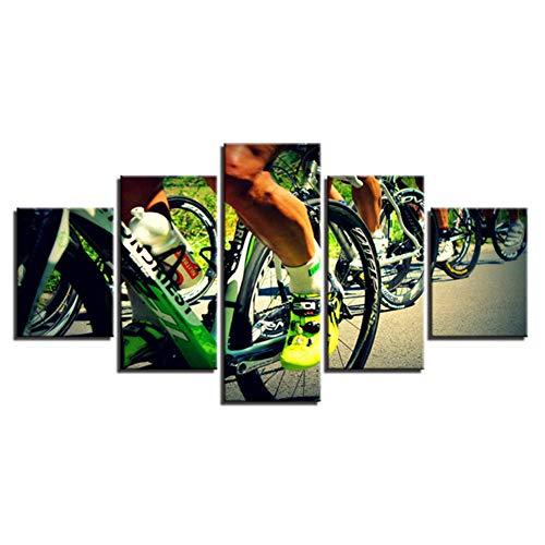 Loiazh - Bilder Vlies Leinwandbild 5 Teilig Kunstdruck modern Wandbilder Wanddekoration Design Wand Bild - Frameless - Mountainbike 55x22 45x20x2 35x20x2(cm)