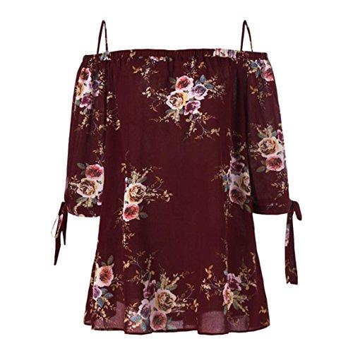 Moonuy Women's Plus Size T-Shirt, 2018 Mode Blumendruck Cold Shoulder Bluse Casual Tops Camis Vintage-Tops Stilvolle Sommer Elegante Kleidung Für Damen (EU 48/Asien 5XL, Wein)