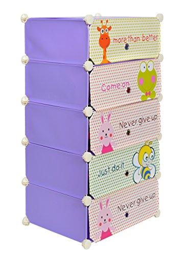 Lila Kunststoff-platten (Kinder Schuhschrank Kinderregal Steck Regal Standregal Schuhregal Sideboard in Lila mit süßen Motiven)