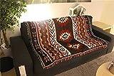 QEES, GT19, telo in cotone in un modello retrò etnico stile Nativi americani, per divano e parete, asciugamano da spiaggia, coperta multifunzione, copriletto