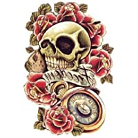 "Tatouage Temporaire Tattoo ""Skull & Roses"" Tête de mort et roses"